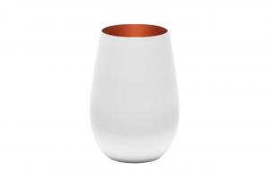 Set 6 pezzi bicchieri acqua in vetro colore bianco, interno color bronzo cl 46,5 cm.12h diam.8,5