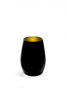 Set 6 pezzi bicchieri acqua in vetro colore nero, interno colore oro cl 46,5 cm.12h diam.8,5