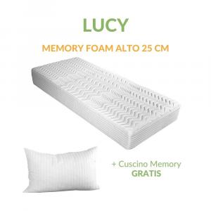 Materasso Singolo 80x190 in Memory Foam Alto 25 cm con Cuscino Cervicale GRATIS,  Ortopedico con Rivestimento Anallergico e Antiacaro Sfoderabile | LUCY