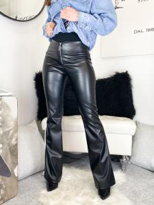 Pantalone eco-pelle a zampa