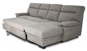 FLAVIA - Divano letto a carrello o cassettone con penisola rivestito in nabucco grigio
