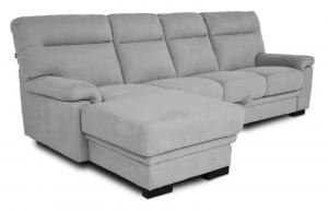 FLAVIA - Divano letto a carrello o cassettone con penisola rivestito in nabucco grigio chiaro