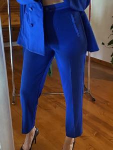 Pantaloni Vicolo profili in raso Blu Elettrico