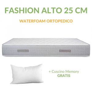 Materasso in Waterfoam Ortopedico Alto 25 cm con Cuscini Memory Foam GRATIS, Rivestimento Bianco Effetto Massaggiante, Tessuto Antiacaro | Fashion Alto 25 cm