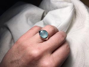 Anello Argento Diametro 12/Calcedonio Azzurro