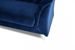 DAVIN - Divano moderno tipo Chesterfield 4 posti in tessuto microfibra effetto velluto di colore blu e piedi in metallo cromo