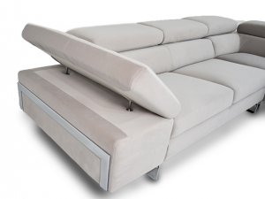 MITO - Divano angolare in tessuto tecnico antigraffio dotato di poggiatesta e bracciolo relax regolabili e piedi in metallo cromo- design moderno