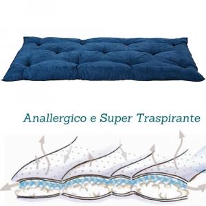 Letto per Cani alto 8 cm Lavabile Materasso Cuscino in Waterfoam Cuccia Tappeto Imbottitura 100% Fiocco Colore Blu | Fufy