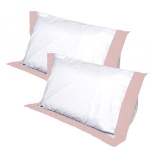 Coppia Cuscini con Elegante Set di 4 Fodere GRATIS in Morbido Cotone Rosa + Balza Rosa, 2 Guanciali 100% Memory Foam per dolori CERVICALI in Schiuma Ergonomica ANTIACARO