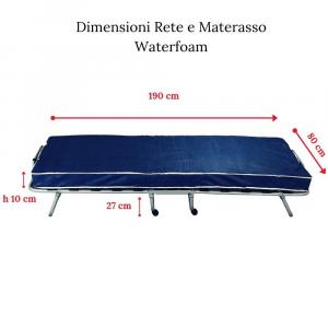 Brandina Pieghevole con Materasso Singolo 80x190 alto 10 cm in Waterfoam + Cuscino Memory Foam GRATIS, Rivestimento Anallergico, Rete Singola con 4 Ruote ANTIGRAFFIO | ARTU'