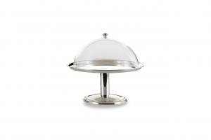 Alzata tonda placcato argento con cupola in policarbonato cm.41h diam.36