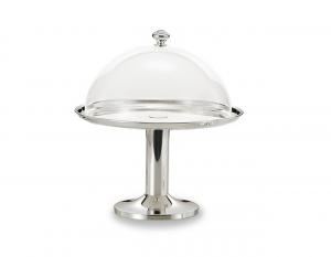 Alzata tonda placcato argento con cupola in policarbonato cm.33h diam.30