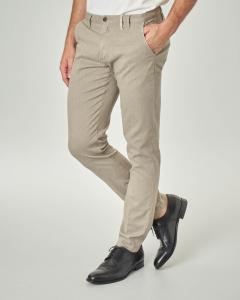 Pantalone chino beige in cotone stretch micro resca