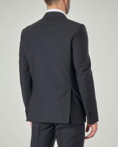 Abito blu scuro in tela di lana stretch