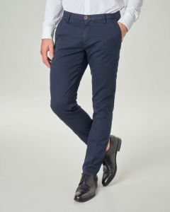 Pantalone chino blu in cotone stretch tinta unita