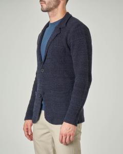 Giacca maglia blu melange in cotone punto canestro