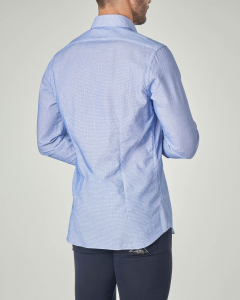 Camicia azzurra con collo francese in cotone micro fantasia