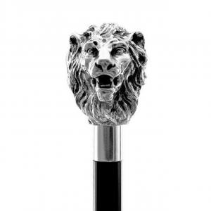 Bastone da passeggio di lusso Leone impugnatura rivestita in argento puro 999 cm.94h