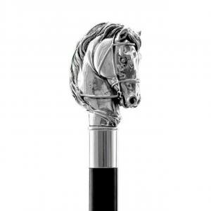 Bastone da passeggio di lusso Cavallo impugnatura rivestita in argento puro 999 cm.94h
