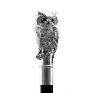 Bastone da passeggio di lusso Civetta impugnatura rivestita in argento puro 999 cm.94h
