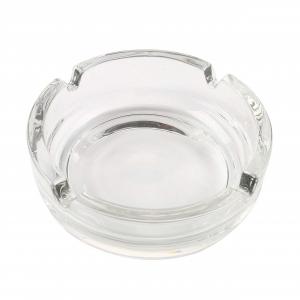 Posacenere in vetro forma rotonda impilabile con 4 punti di appoggio per sigaretta e sigari cm.3h diam.10,7