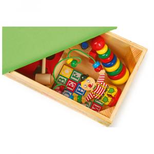 Baule dei giochi in legno con sedile