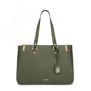 Borsa L Double zip satchel Boston colore verde militare  - LIU JO