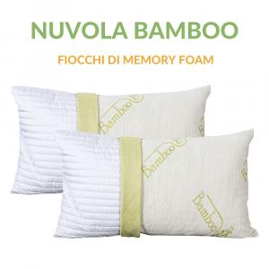 Cuscino Fiocco di Memory Foam con Fodera fibra di BAMBOO 42x72 Alto 15 cm Modello Saponetta Adatto per Dolori Cervicali, Federa Sfoderabile e Lavabile, Guanciali Cuscini Letto Antiacaro