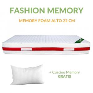 Materasso in MEMORY FOAM alto 22 cm con CUSCINI Cervicale GRATIS Lastra Massaggiante, Ortopedico, Rivestimento Anallergico Bianco SFODERABILE | FASHION MEMORY