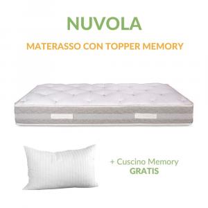 Materasso con Topper in Memory h 25 cm Sfoderabile 4 Lati | Nuvola
