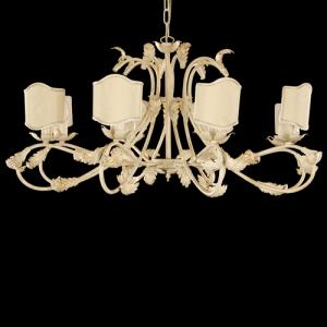 Montatura lampadario a 8 luci, struttura avorio spazzolato oro con foglie e bracci curvi con paralumi avorio e passamaneria oro.