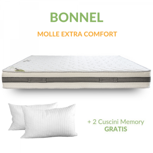 Materasso a Molle in Acciaio e Waterfoam Ortopedico tessuto Anallergico H20 con Cuscini in Memory Foam GRATIS | Bonnel