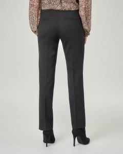 Pantalone nero a sigaretta in lana stretch