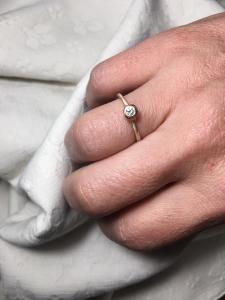 Anello 'Castoncino' Oro9k Rosa/Diamante