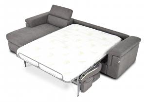 Divano letto con penisola contenitore e poggiatesta regolabili – Design moderno - pronta consegna