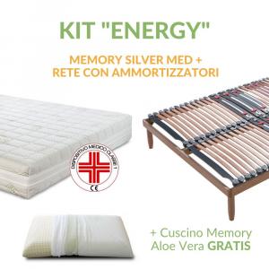 Kit Silver Memory Med: Materasso Memory, Rete a Doghe in Legno e Cuscino in Memory