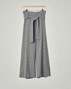 Pantalone grigio gessato cropped con cintura 40-44