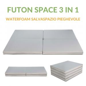Futon Space Multifunzione 3 in 1 Pouf Materasso Singolo e Matrimoniale SalvaSpazio Pieghevole