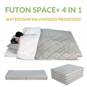 Futon Space Plus Pieghevole Multifunzione 4 in 1 Pouf Materasso Singolo e Matrimoniale con Biancheria SalvaSpazio