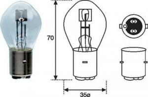 1987302105 LAMPADINA S2 BOSCH 12V/35-35W BA20D