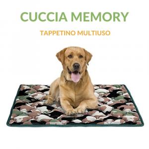 Cuccia per Cane con Imbottitura in Memory Foam, Rivestimento Grigio e Militare, Ipoallergenico, Letto Multiuso per Animali Domestici di Taglia Media