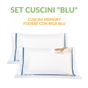 Coppia Cuscini con Elegante Set di 4 Fodere GRATIS in Morbido Cotone Bianco + Balza e Riga Blu, 2 Guanciali 100% Memory Foam per dolori CERVICALI in Schiuma Ergonomica ANTIACARO