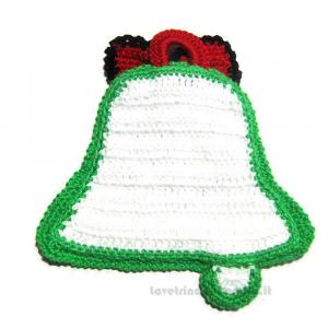 Presina campana natalizia ad uncinetto 15x16 cm - Handmade in Italy