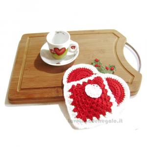 Presina Cuore con Babbo Natale ad uncinetto 17x19.5 cm - Handmade in Italy