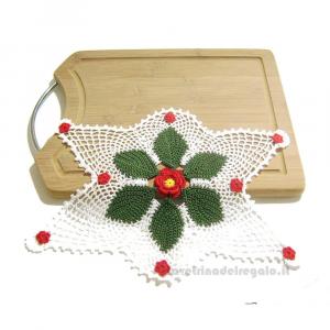 Centrino rettangolare bianco con fiore natalizio ad uncinetto 23x33 cm - Handmade in Italy