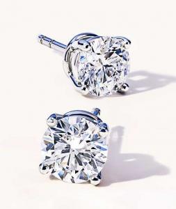Orecchini Punti Luce in Oro Bianco con Diamanti Taglio Brillante HRD Antwerp