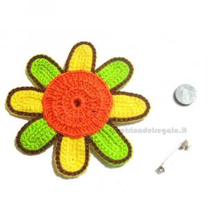 5 pz - Applicazione fiori multicolore ad uncinetto 9.5 cm - Handmade in Italy