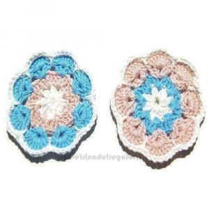 6 pz - Fiori afgani rosa bianchi e turchese 7 cm - Handmade in Italy