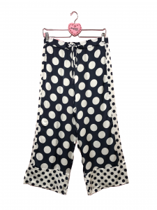 Pantalone crop raso stampa pois
