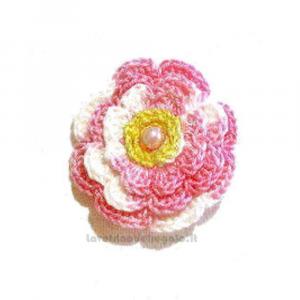 Set 5 pz - Fiore per applicazioni rosa ad uncinetto 5 cm Handmade - Italy